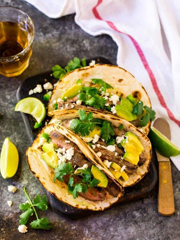 Grilled Flank Steak Tacos. A quick and healthy taco recipe for the grill, stove top, or oven.