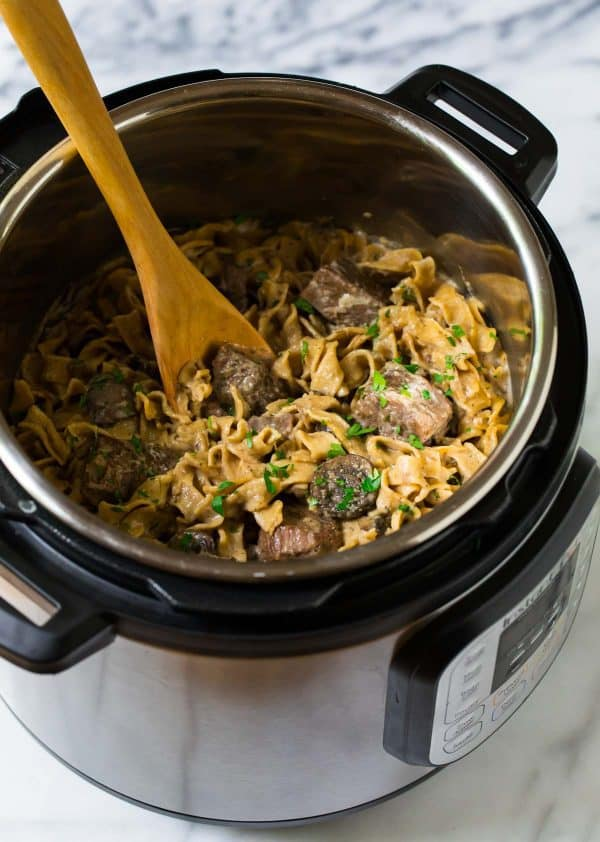 An easy, healthy recipe for beef stroganoff in the Instant Pot