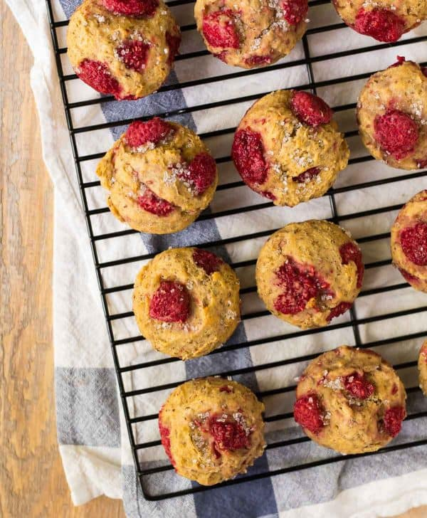 Healthy Raspberry Muffins with Lemon, Greek yogurt, and whole wheat flour. Easy, moist, and delicious!