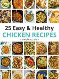 25 Easy and Healthy Chicken Dinner Recipes. Includes crockpot chicken recipes, one pan meals, sheet pan recipes, and more! All are healthy, family friendly, and easy to make.