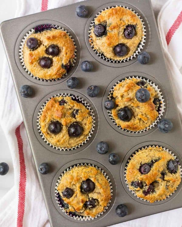 Moist, healthy Gluten Free Muffins made with almond flour and blueberry.