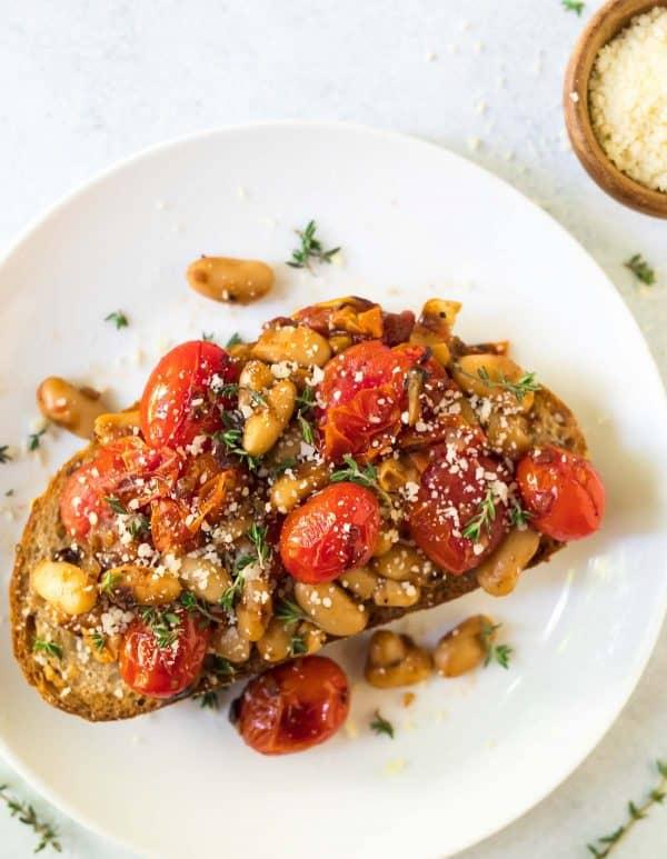 White Bean Ragu on Toast with Tomatoes