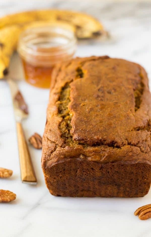 Healthy Pumpkin Banana Bread. Easy one bowl recipe!