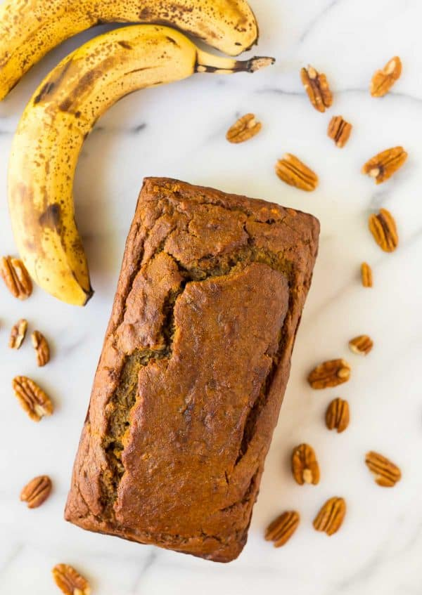 Easy One Bowl Pumpkin Banana Bread. Healthy recipe with the perfect amount of spices.
