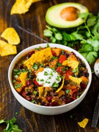 Instant Pot Vegetarian Chili with Black Beans, Quinoa, and Sweet Potatoes. Easy, healthy, and filling with the perfect blend of spice. This is the BEST veggie chili recipe! Thick, not too spicy, hearty, and the pressure cooker makes the prep simple!