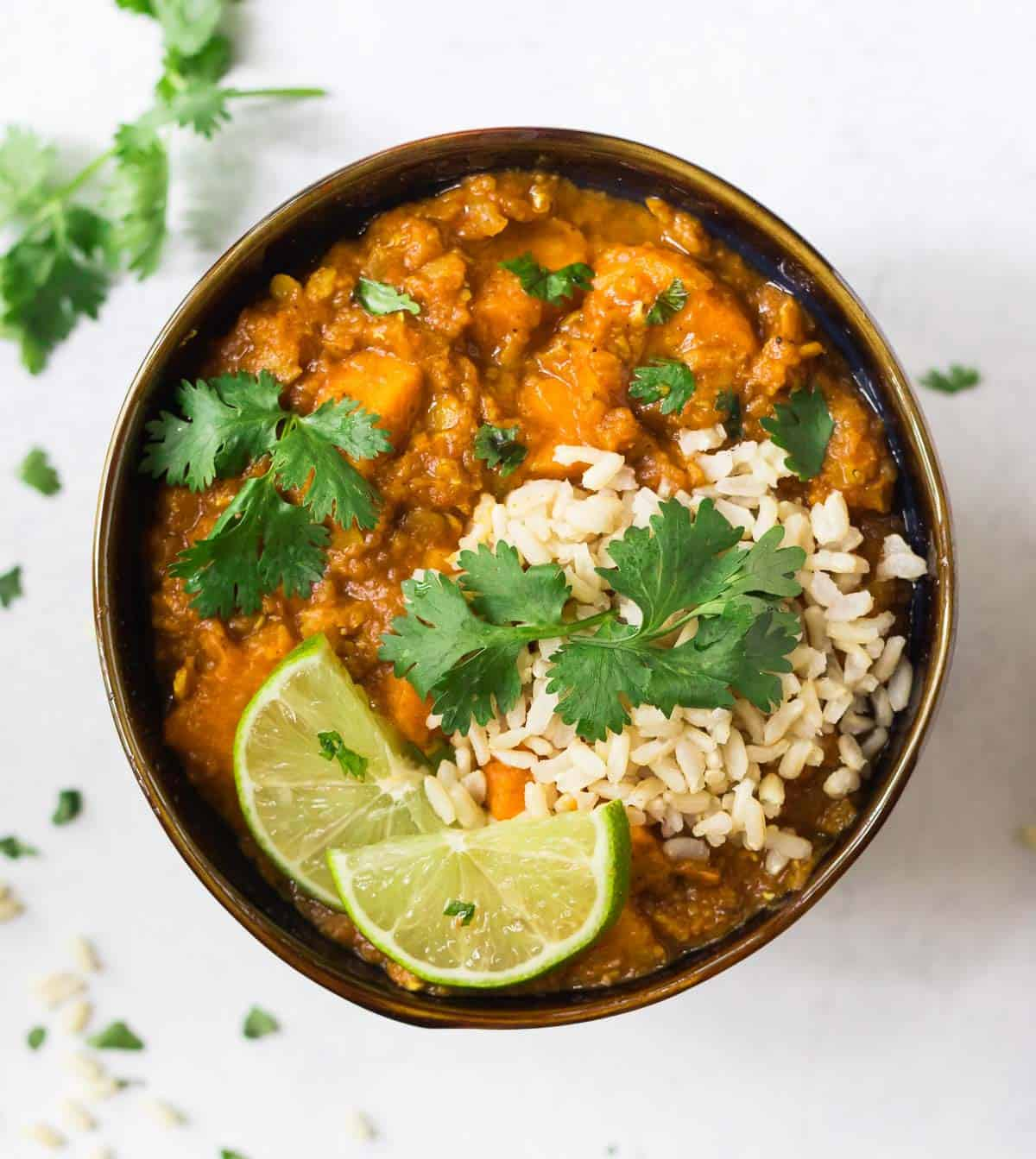 Slow Cooker Red Lentil Curry With Sweet Potatoes