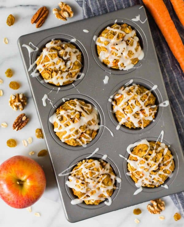 Easy Apple Carrot Muffins. Wholesome and tasty for kids and grownups!