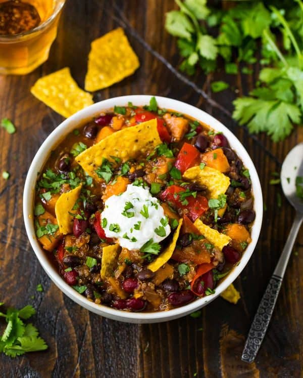 Healthy Instant Pot Vegetarian Chili. Hearty, filling, and delicious!