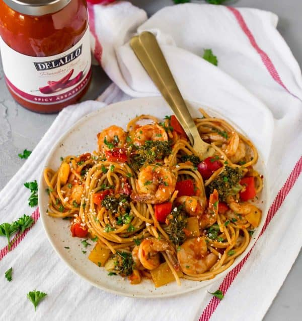 Easy, healthy Spicy Shrimp Pasta. Perfect fast dinner recipe!