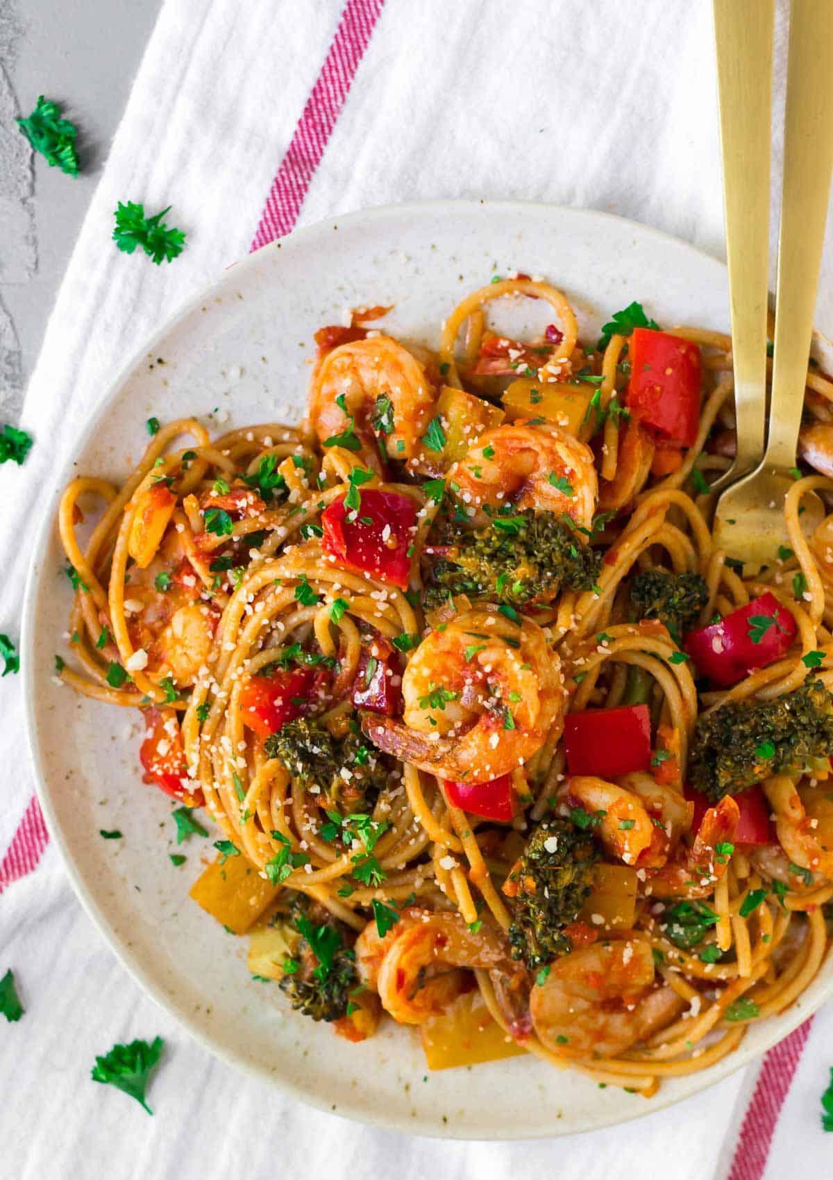 Spicy Shrimp Pasta Creamy Spgahetti Recipe Wellplated Com