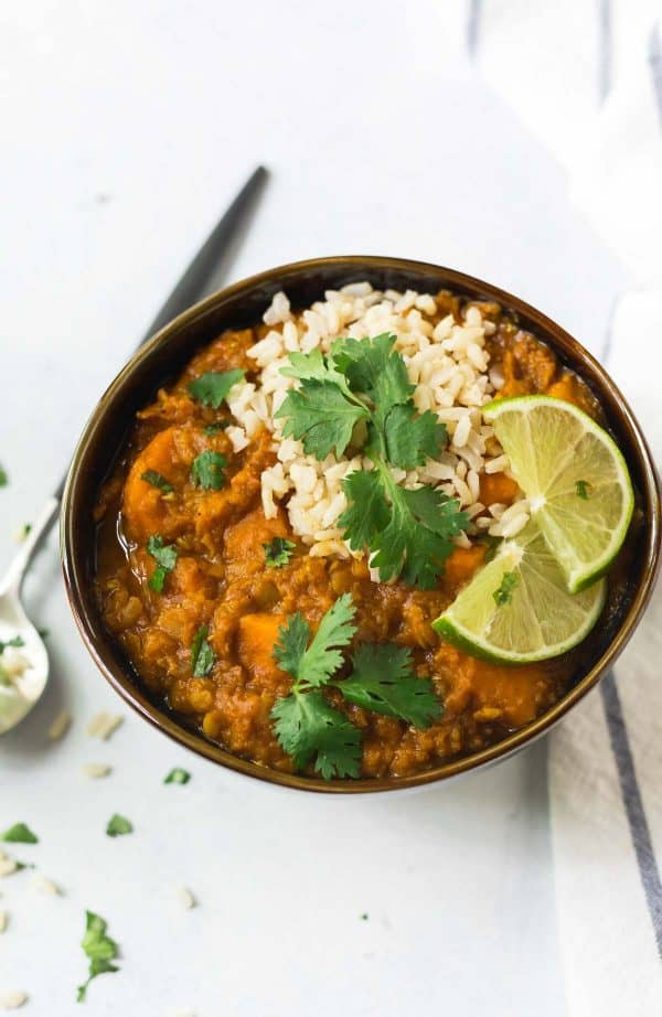 Simple Slow Cooker Red Lentil Curry with Sweet Potato is an easy, vegan meal.