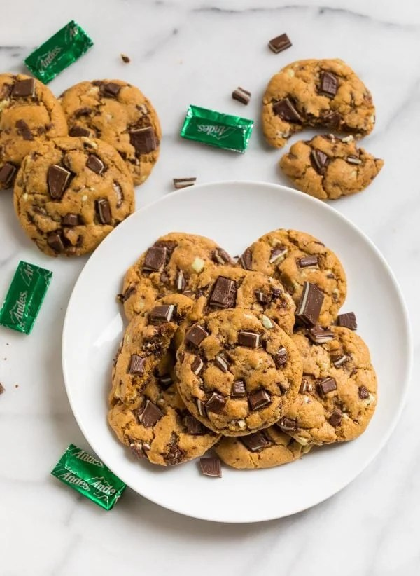 Easy Andes Mint Cookies. Delicious cookies made with whole wheat flour and Andes mint candies.