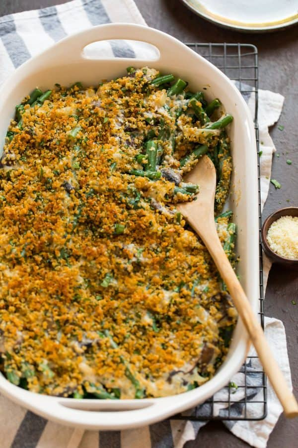 Healthy Green Bean Casserole. Made from scratch with no canned soup!