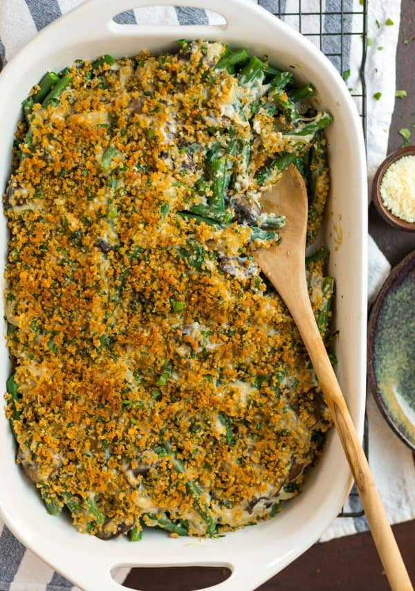 Healthy Green Bean Casserole. Clean eating recipe without canned soup! Easy and a favorite of families.
