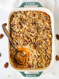 Healthy Sweet Potato Casserole with Oatmeal Topping. This will be your new favorite sweet potato recipe! Creamy, decadent, vegan, and gluten free!