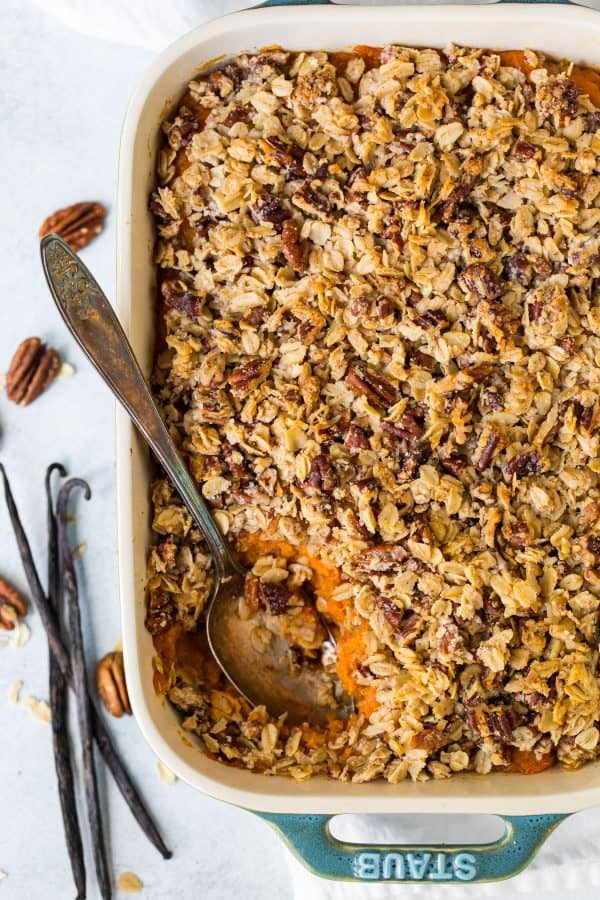 Healthy Sweet Potato Casserole. Your new favorite vegan, gluten free side for the holidays.