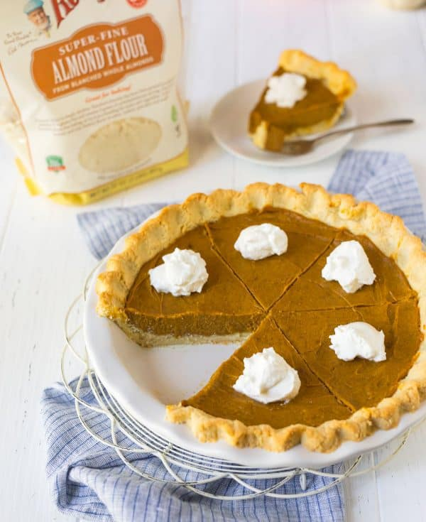Vegan Pumpkin Pie. Creamy, gluten-free, and perfect for Thanksgiving!