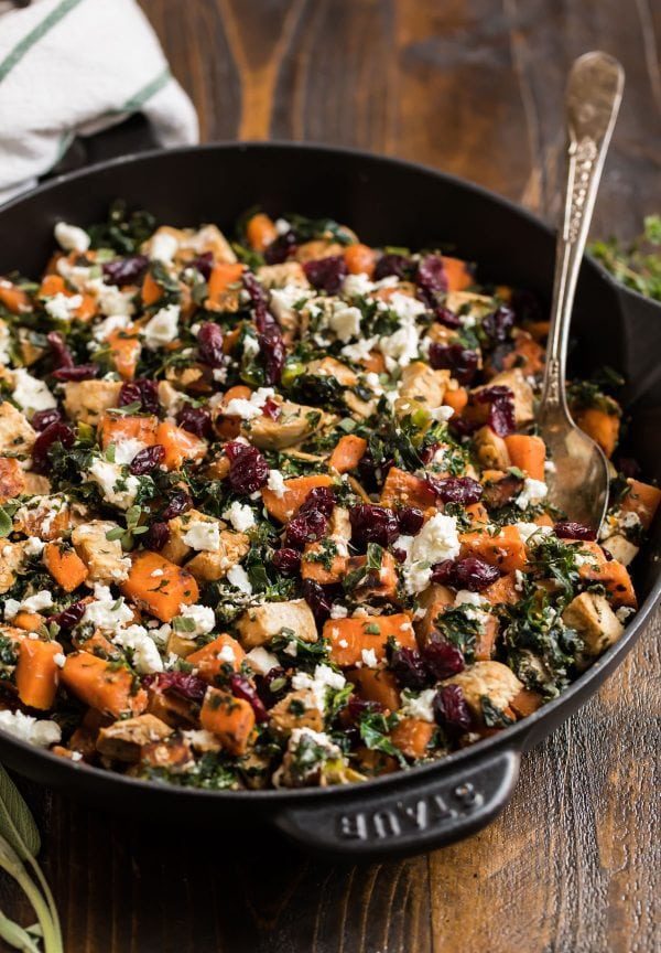 Healthy Chicken Sweet Potato Kale Skillet made with cranberries and goat cheese. Easy and healthy chicken dinner!