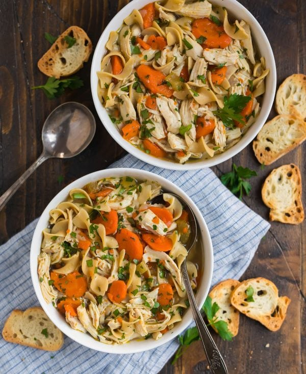 Instant Pot Chicken Noodle Soup. This tasty homemade recipe is perfect for weeknight dinner!