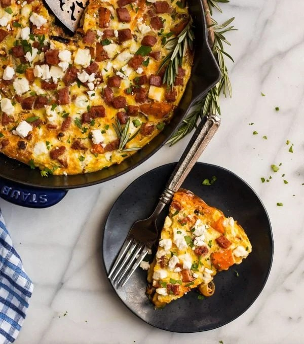 Ham Sweet Potato Frittata. Full of amazing flavor from caramelized onions, feta, and rosemary.