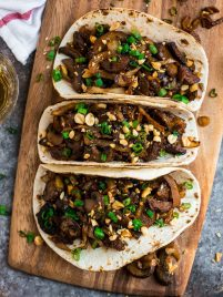 Vegetarian Mushroom Tacos. Healthy and flavorful vegan tacos made with tofu, baby bella, shiitake, or oyster mushrooms and cabbage in a sweet and spicy Asian sauce.