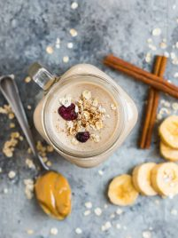 Filling and healthy Oatmeal Smoothie with peanut butter, banana, and cinnamon. With benefits like fiber, protein, healthy fats, and whole grains, this vegan breakfast smoothie will keep you full for hours! Great for breakfast, kids, and for weight loss too!