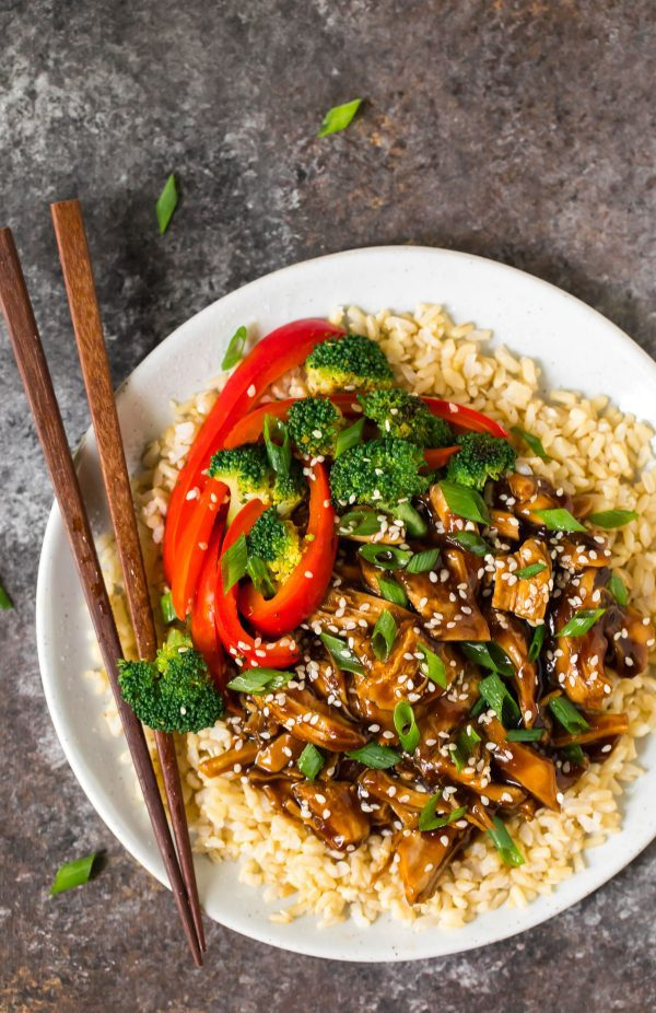 A plate of healthy Instant Pot Teriyaki Chicken with chopsticks
