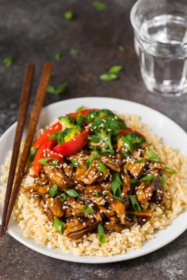 A plate of healthy Instant Pot Teriyaki Chicken