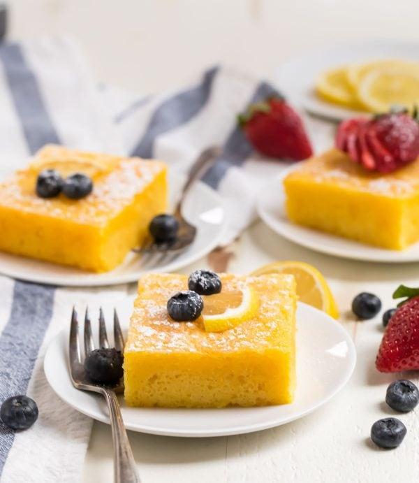 Easy Lemon Poke Cake. A classic recipe with yellow cake and lemon jello!
