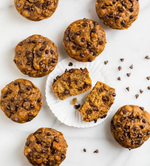 Healthy Banana Chocolate Chip Muffins. Easy, moist, and kid friendly!