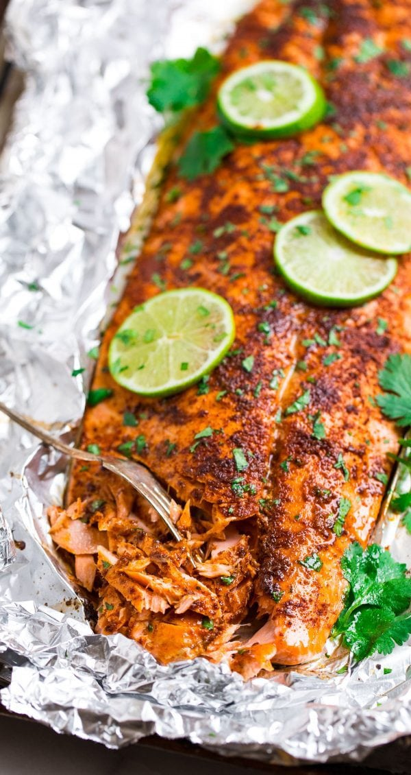 Healthy Spicy Baked Salmon. Made with chipotle, lime juice, and brown sugar.