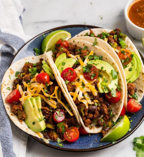 Healthy Breakfast Tacos, made with turkey chorizo. Like Texas breakfast tacos!