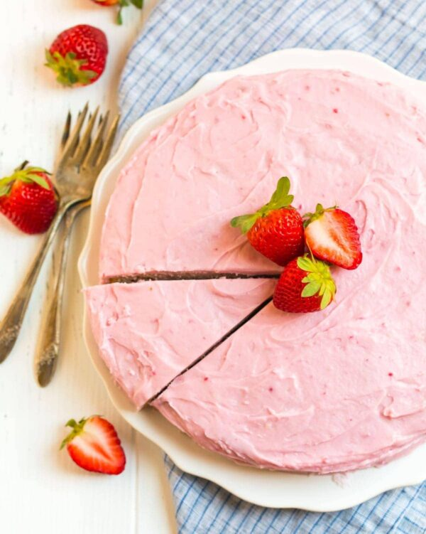 100% from scratch Fresh Strawberry Cake with Strawberry Cream Cheese Frosting. Homemade without Jello or cake mix.