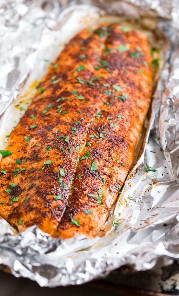 Spicy Baked Salmon. Sweet and spicy with chipotle and lime.