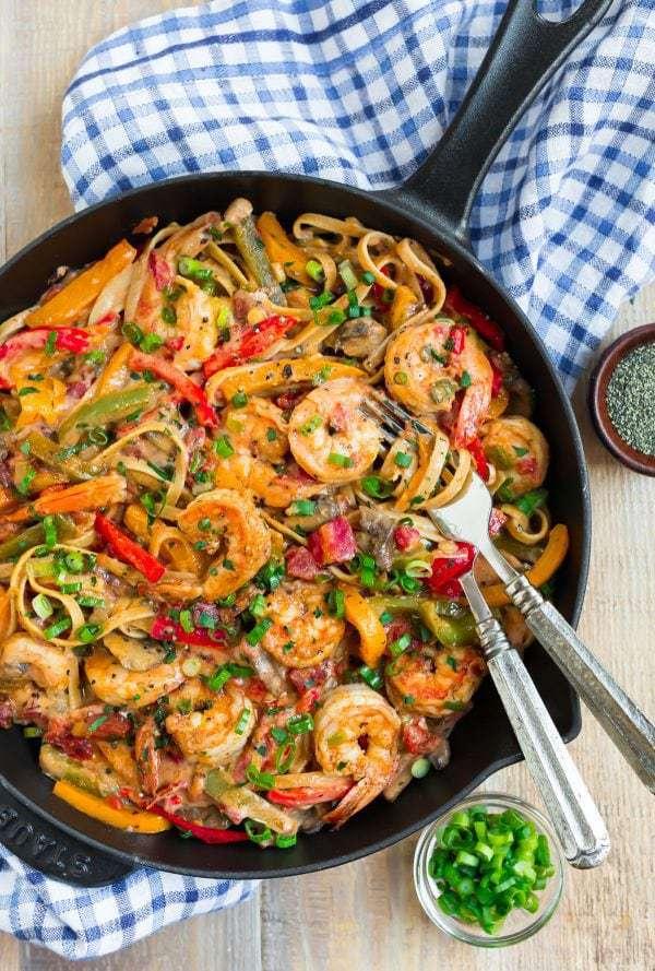 Cajun Shrimp Pasta | CREAMY, Lightened Up, and Easy!