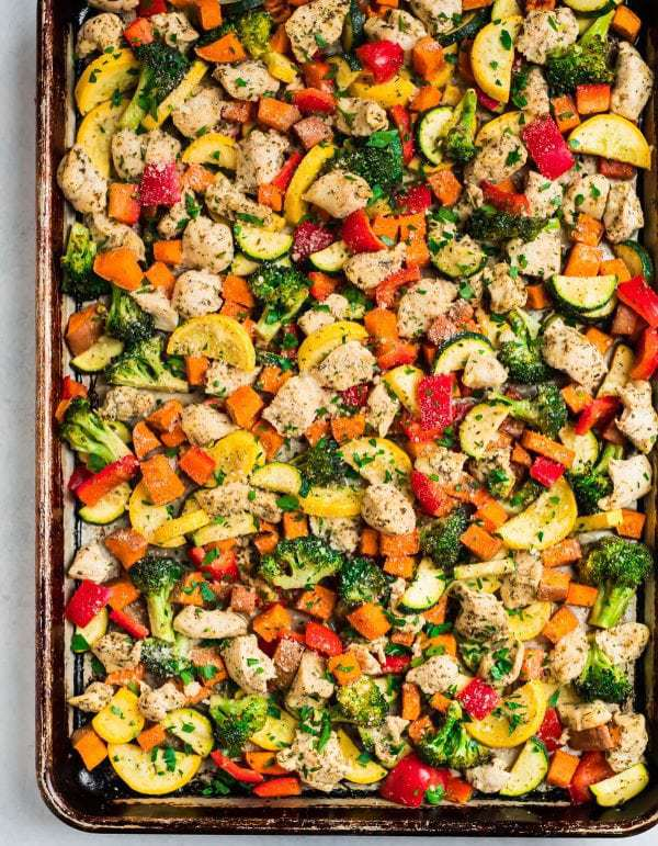 Oven baked Sheet Pan Chicken with Broccoli, Sweet Potatoes, and Zucchini and a lemon garlic Parmesan topping.