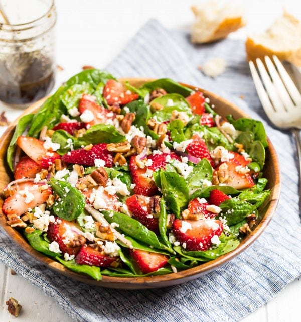 Bowl of Strawberry Spinach Salad with Balsamic Poppy Seed Dressing