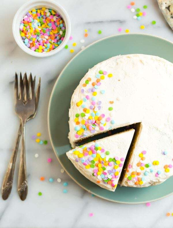 Moist Coconut Flour Cake with Lemon, Almond, Vanilla Frosting, and Sprinkles