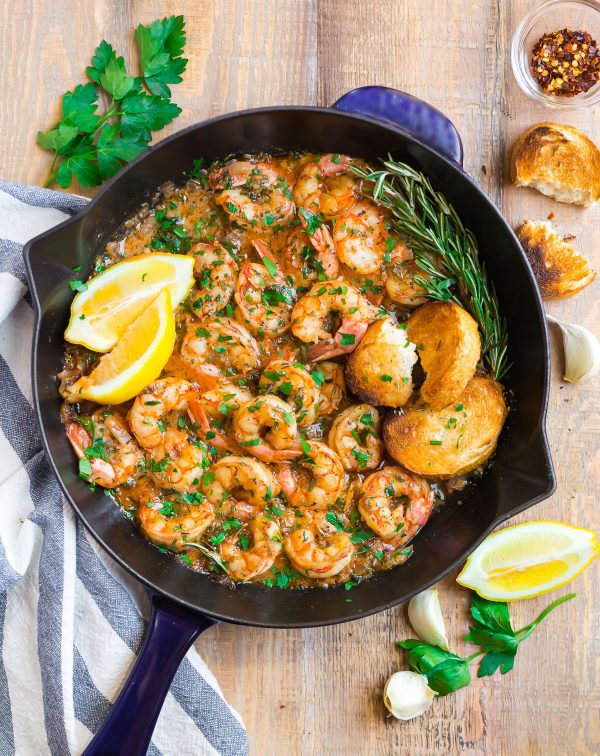 A skillet with Garlic Butter Shrimp