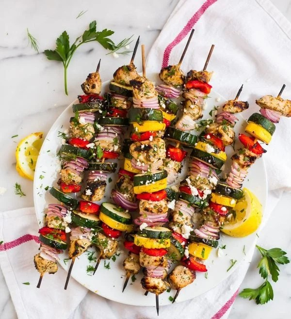 A plate of Grilled Chicken Kabobs
