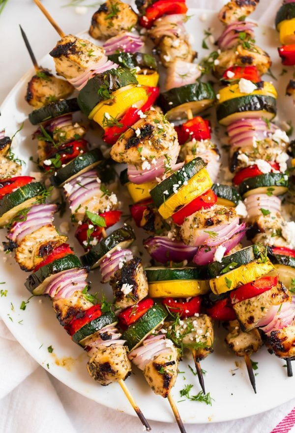 A closeup of Grilled Chicken Kabobs