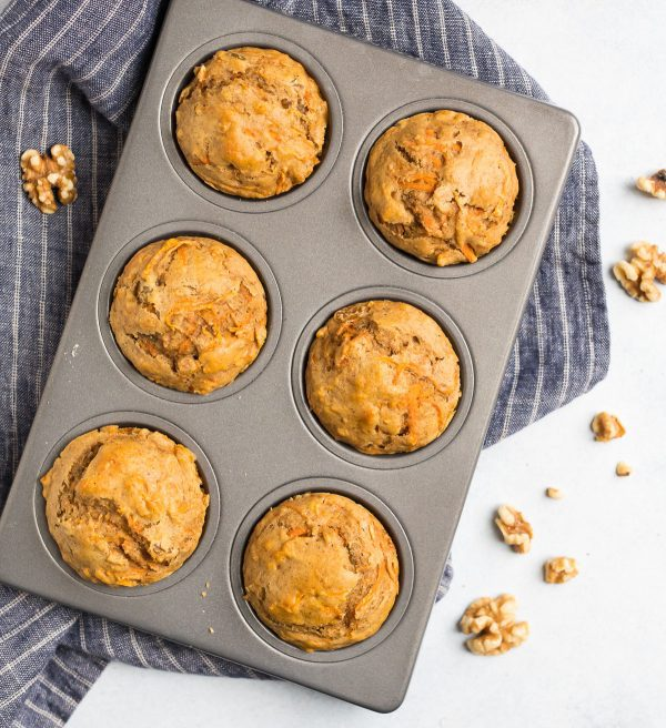 A pan of six Carrot Cake Muffins