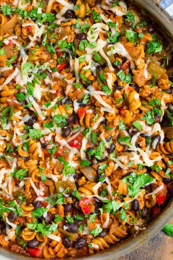 Closeup of cheesy Taco Pasta