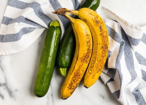 Ripe bananas and zucchini