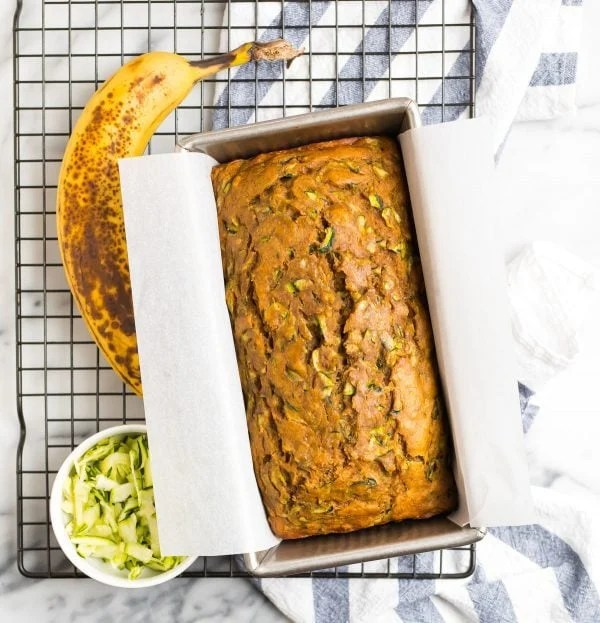 A loaf of Zucchini Banana Bread