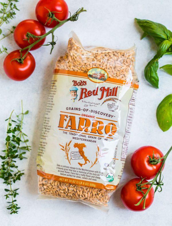 A bag of farro used to make farro risotto