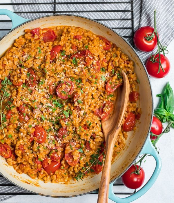 A pan of Farro Risotto