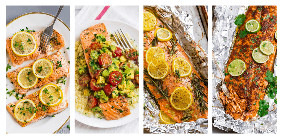 A collection of healthy salmon recipes, including baked salmon
