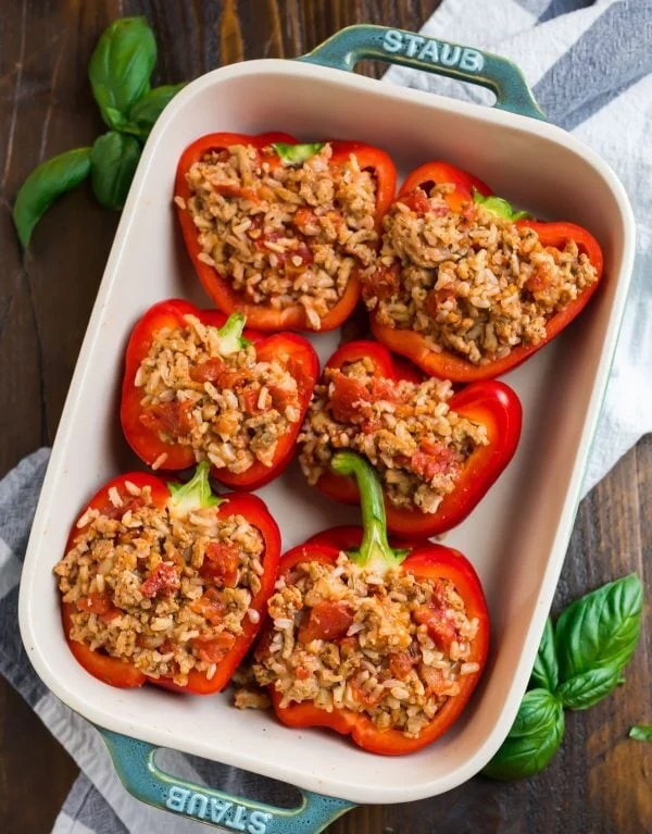 Healthy Italian stuffed peppers that can be made without rice or with orzo