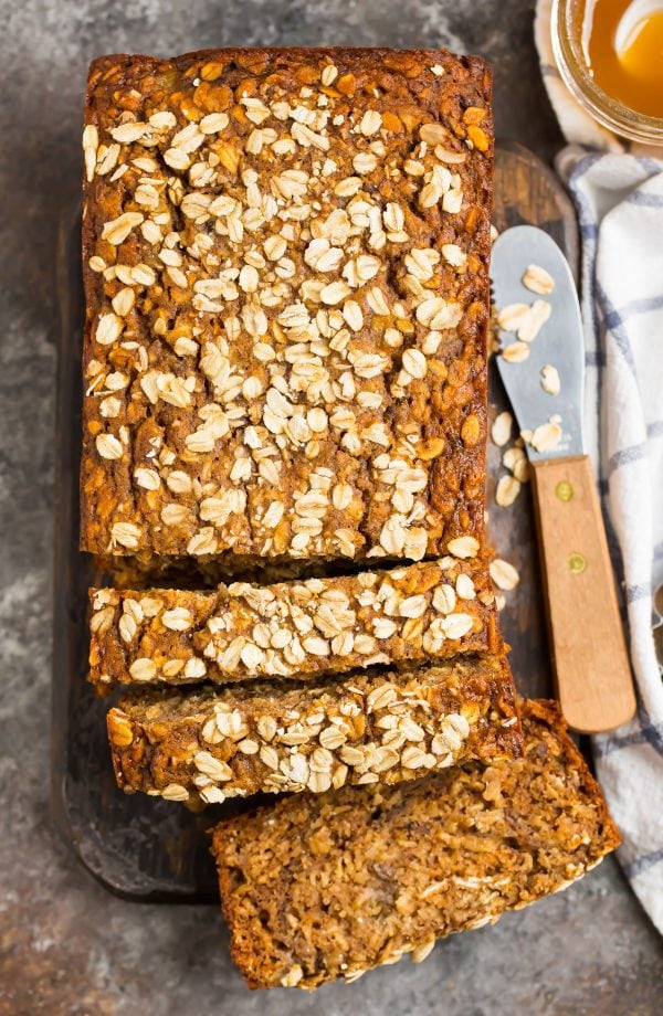 Healthy oatmeal banana bread with toasted oats, bananas, and maple syrup